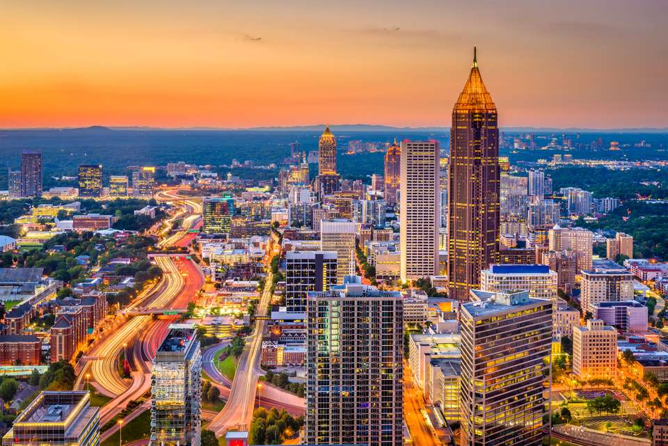 Skyline at sunset of Atlanta, Georgia