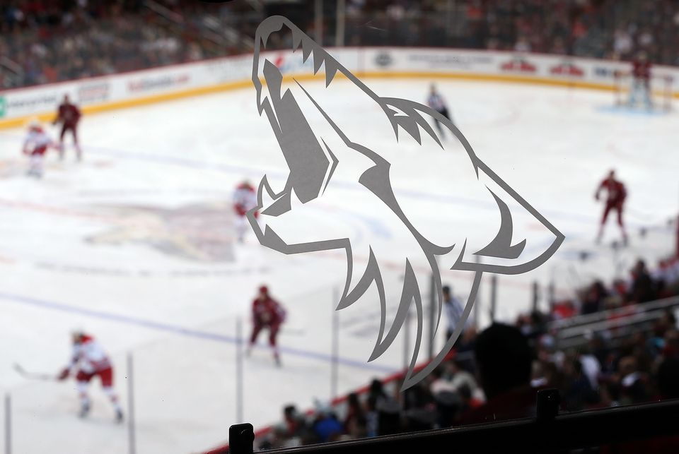 A Coyote's logo is depicted on a glass railing during the NHL game between the Phoenix Coyotes and the Carolina Hurricanes at Jobing.com Arena in Glendale, Arizona.