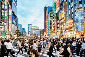 Crowded intersection during Golden Week in Japan
