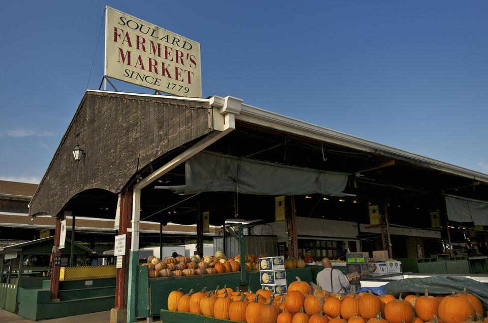 Soulard Farmer S Market Sign And Pumpkins For