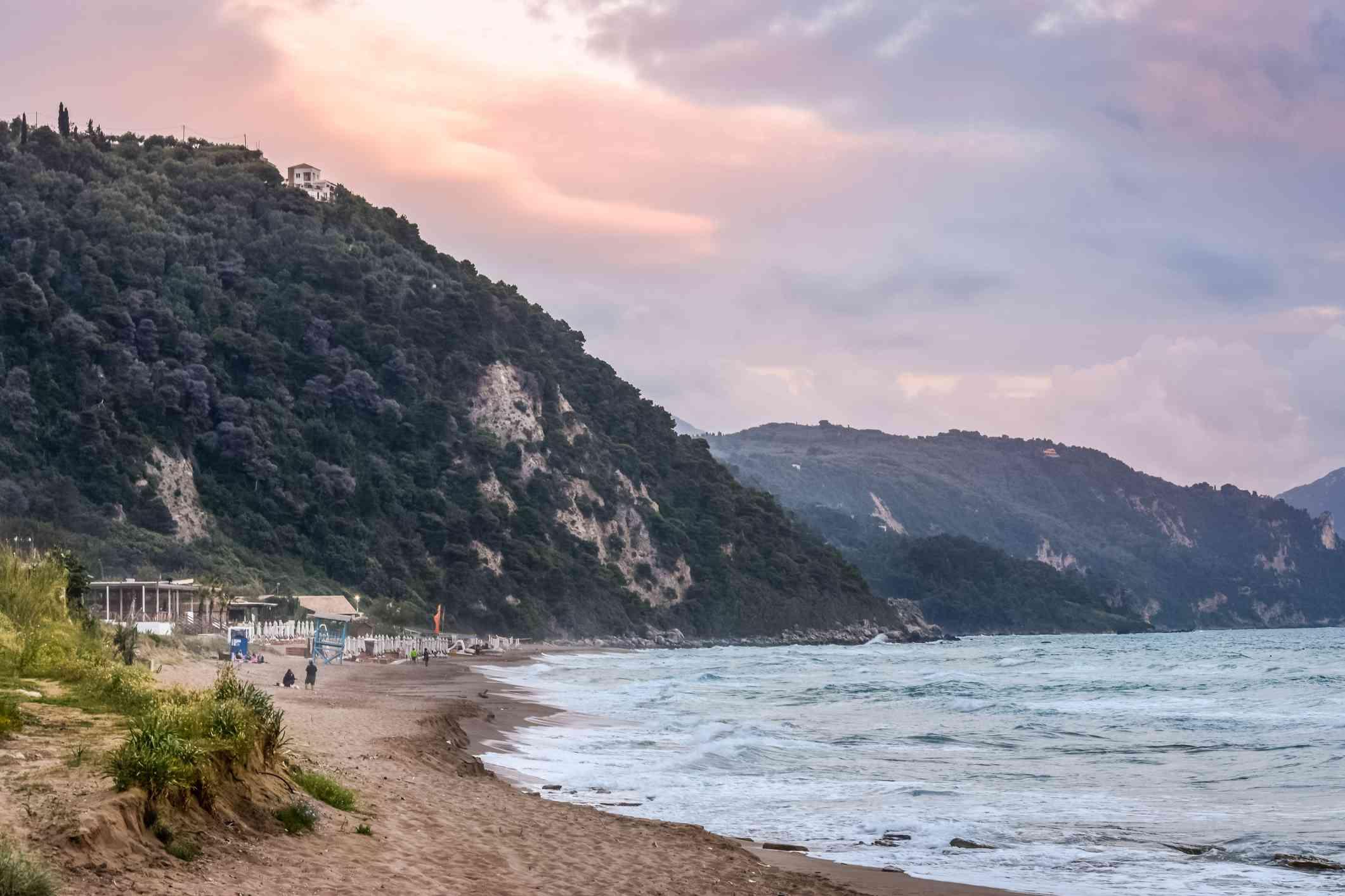 Glyfada beach at sunset