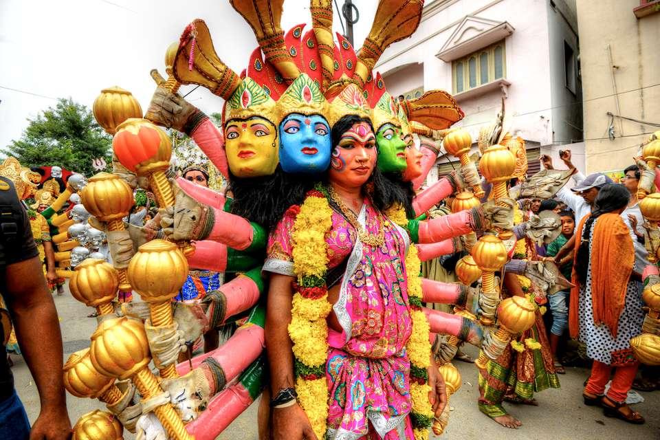 Women at Bonalu festival in traditional wear