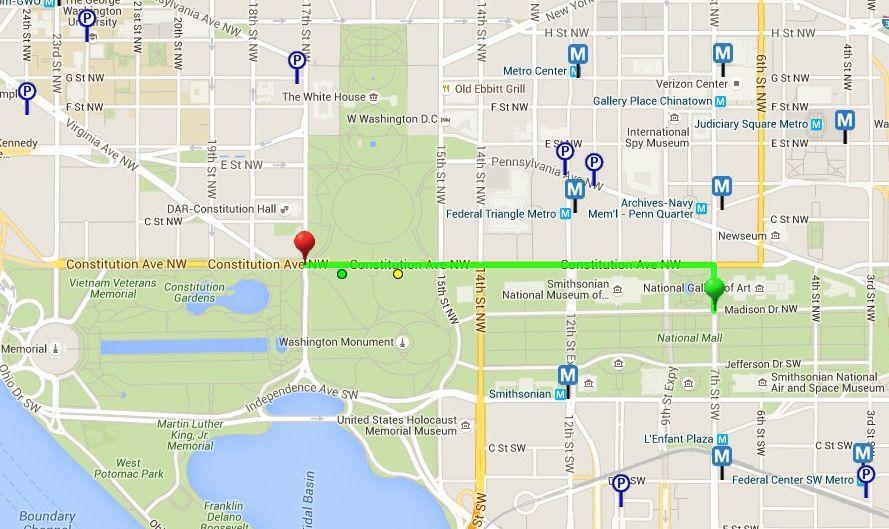 Parade route map, Washington D.C.