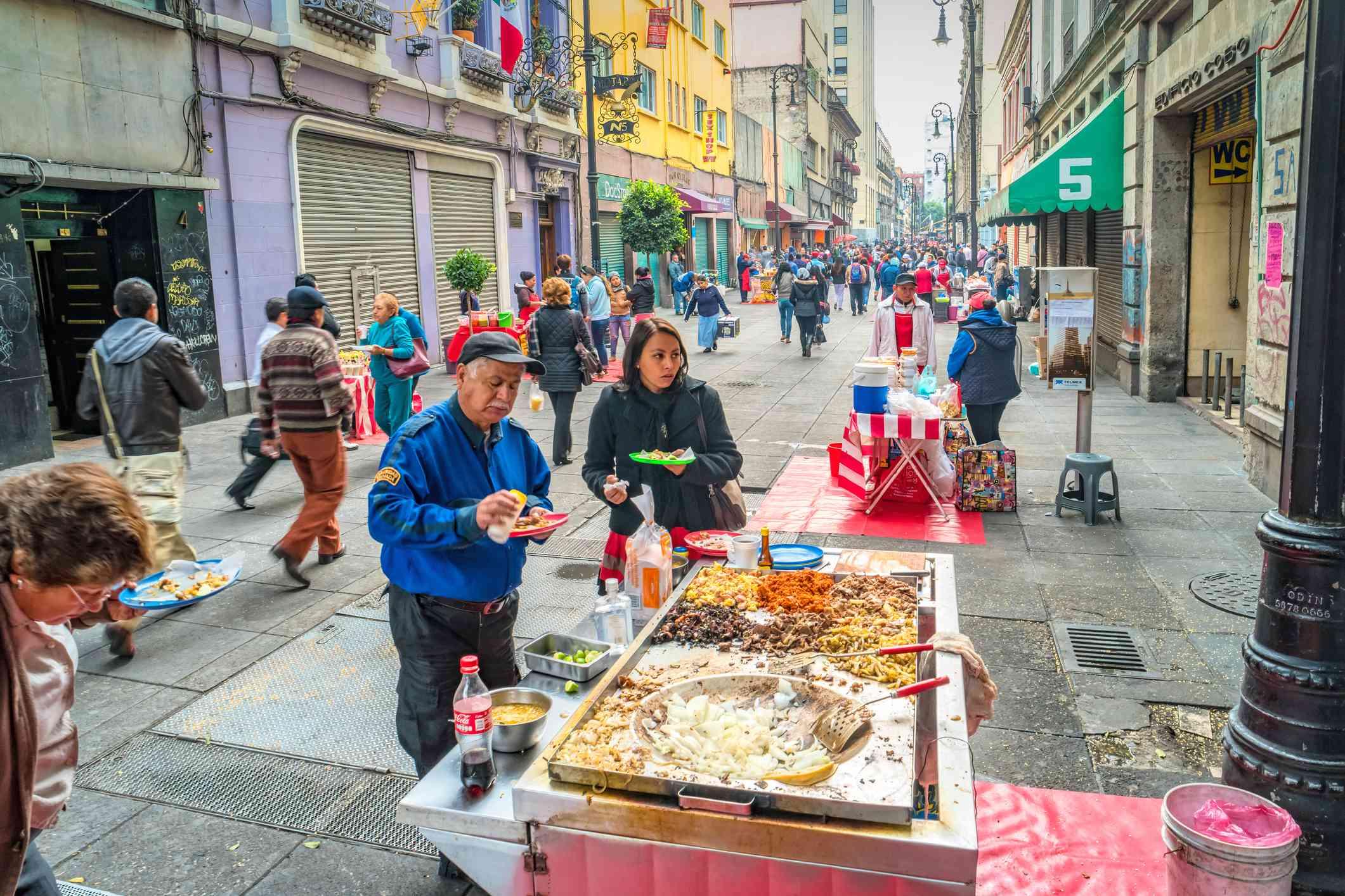 Mexico City street food taco stand