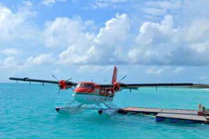 A seaplane in the Maldives