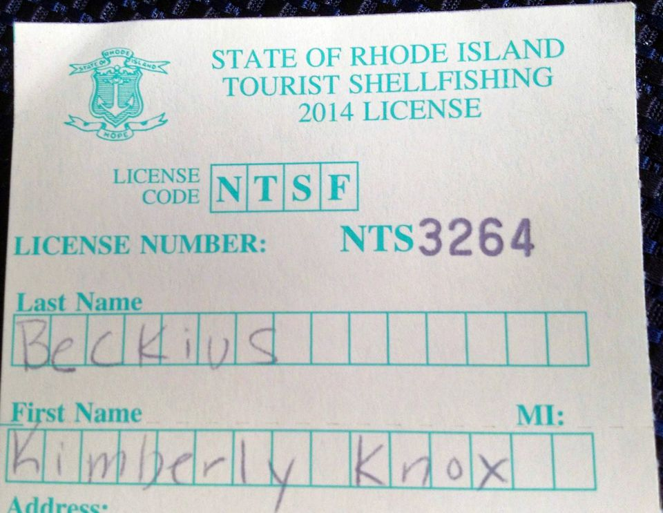 RI Shellfishing License