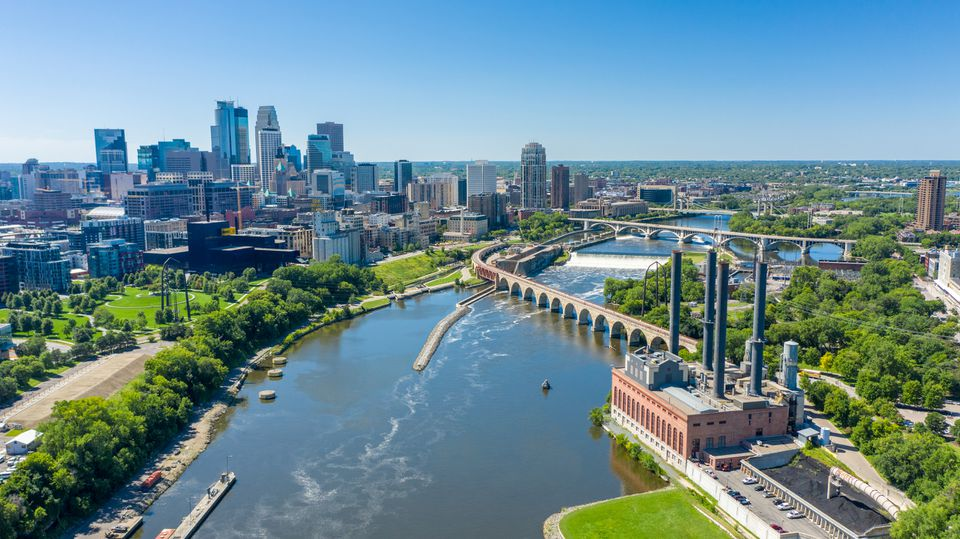 Aerial view of downtown Minneapolis over the Mississippi River.