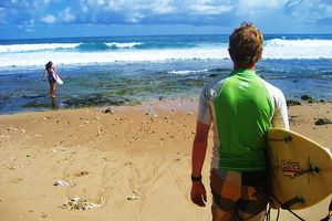 Surfing in Barbados.