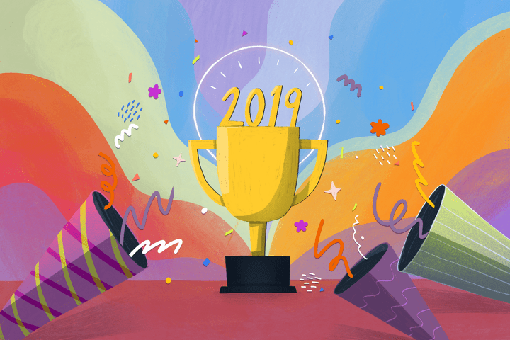 A trophy with 2019 on top of it