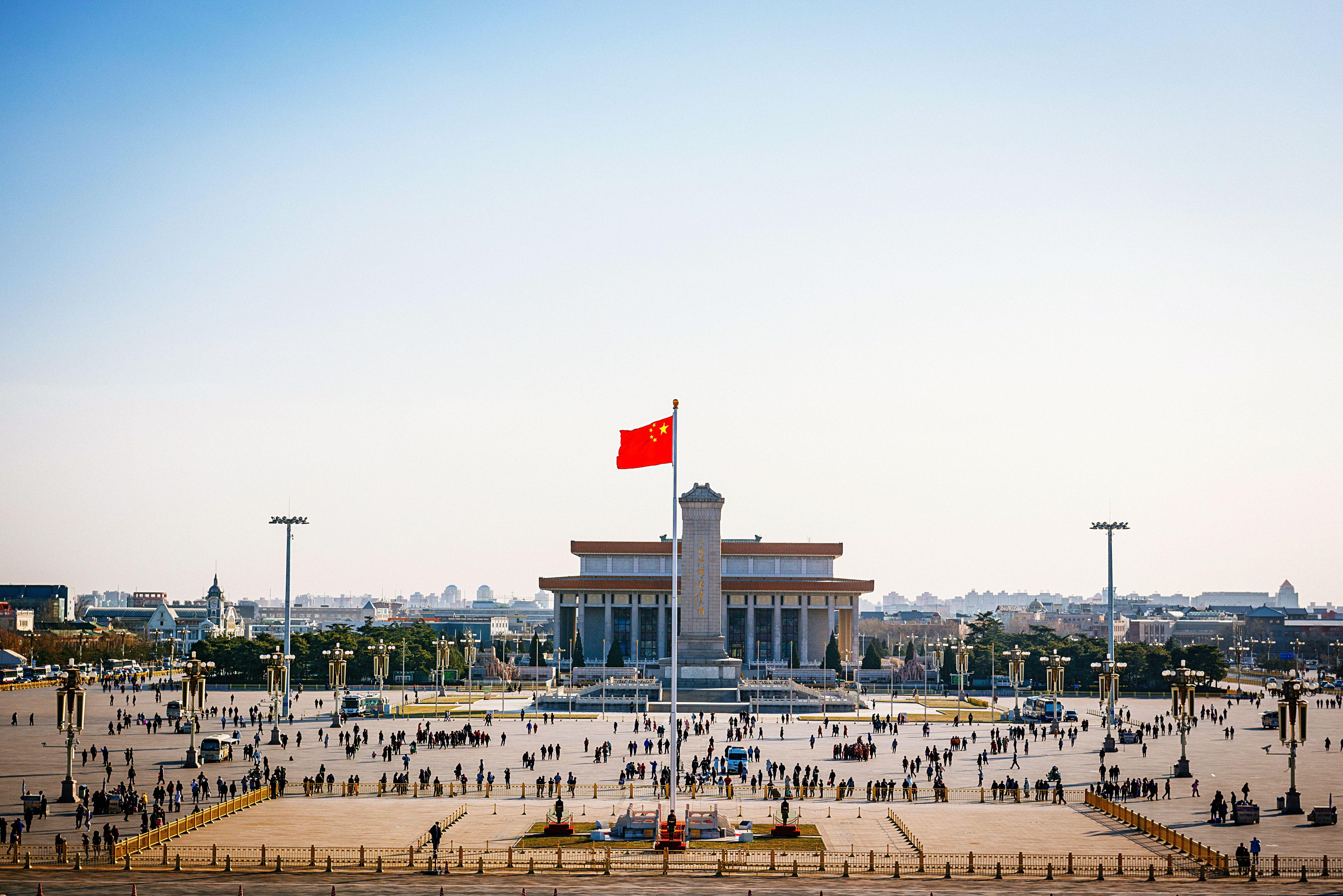 Chinese flag flies in Tiananmen Square in Beijing