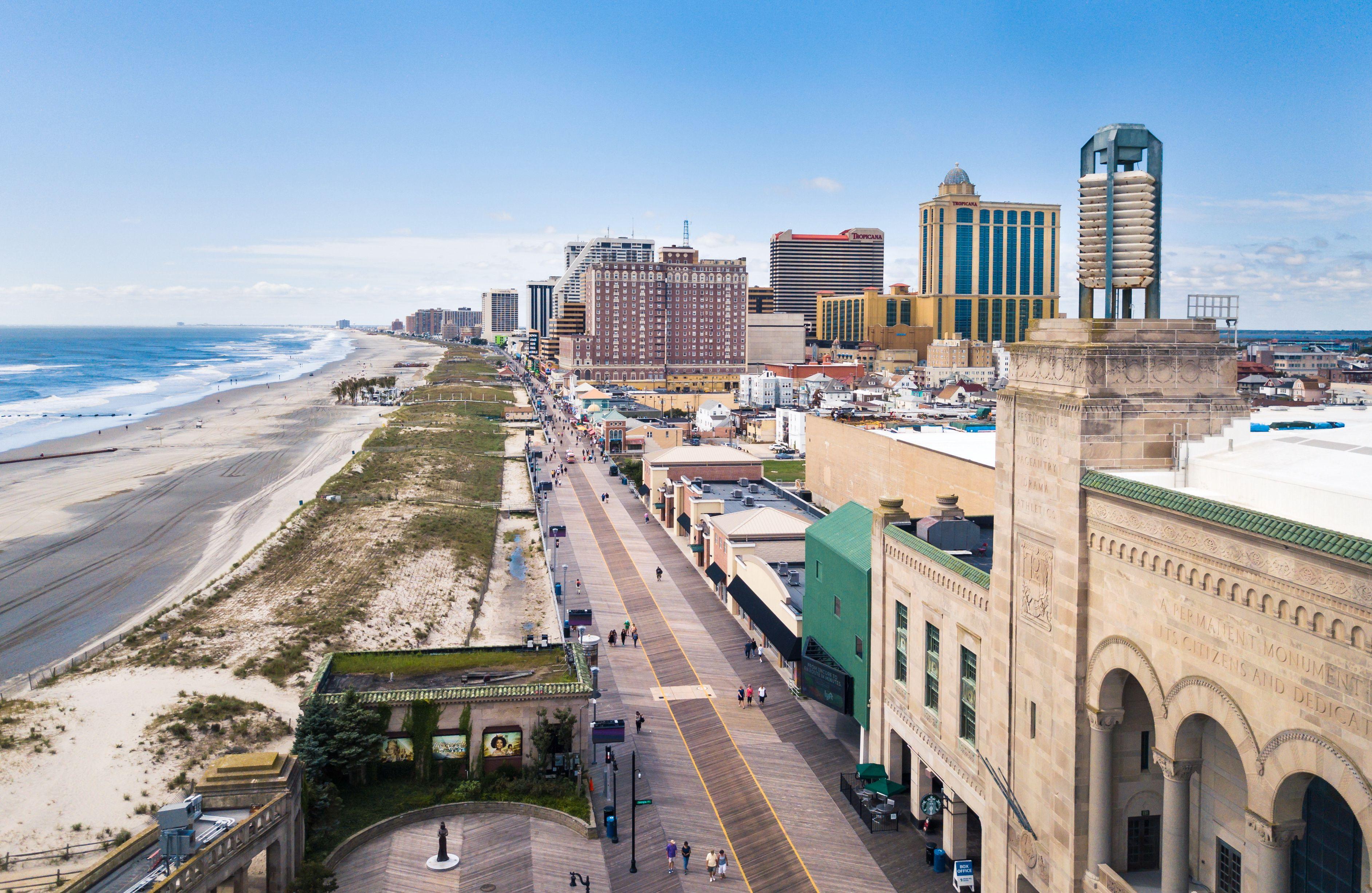 Atlantic City boardwalk aerial view