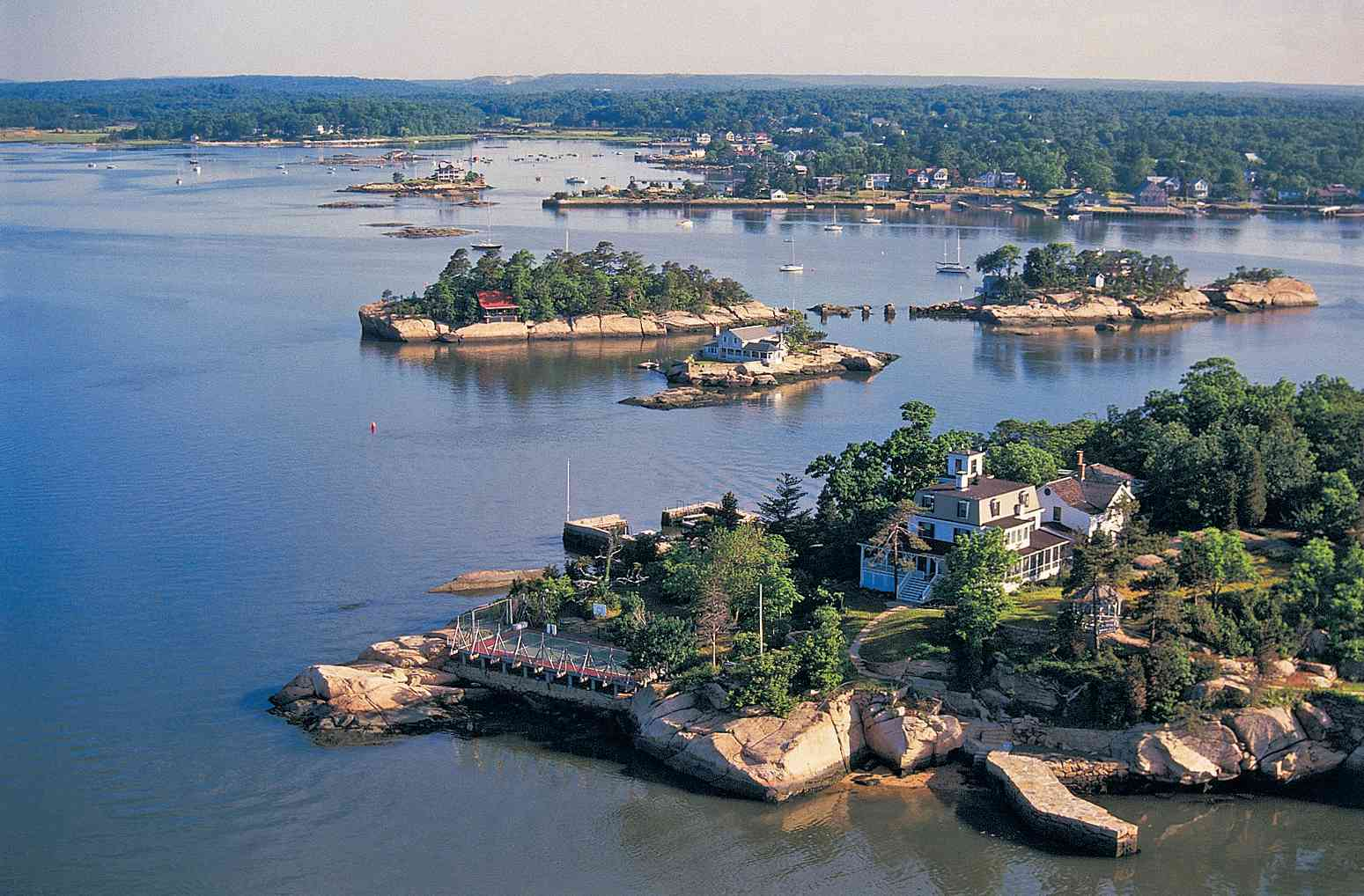 Aerial view of the Thimble Islands, CT