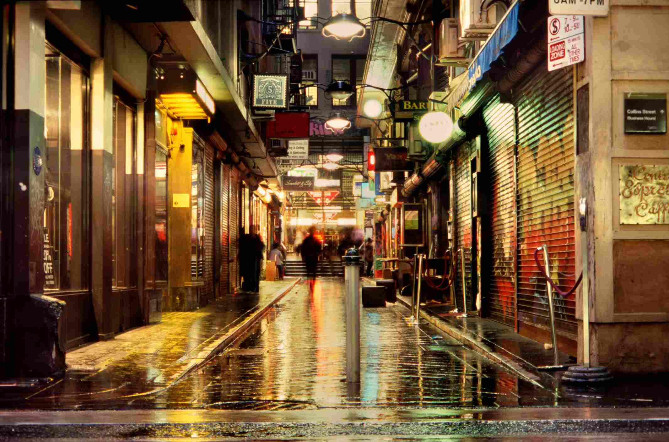 view of a rainy street in Melbourne