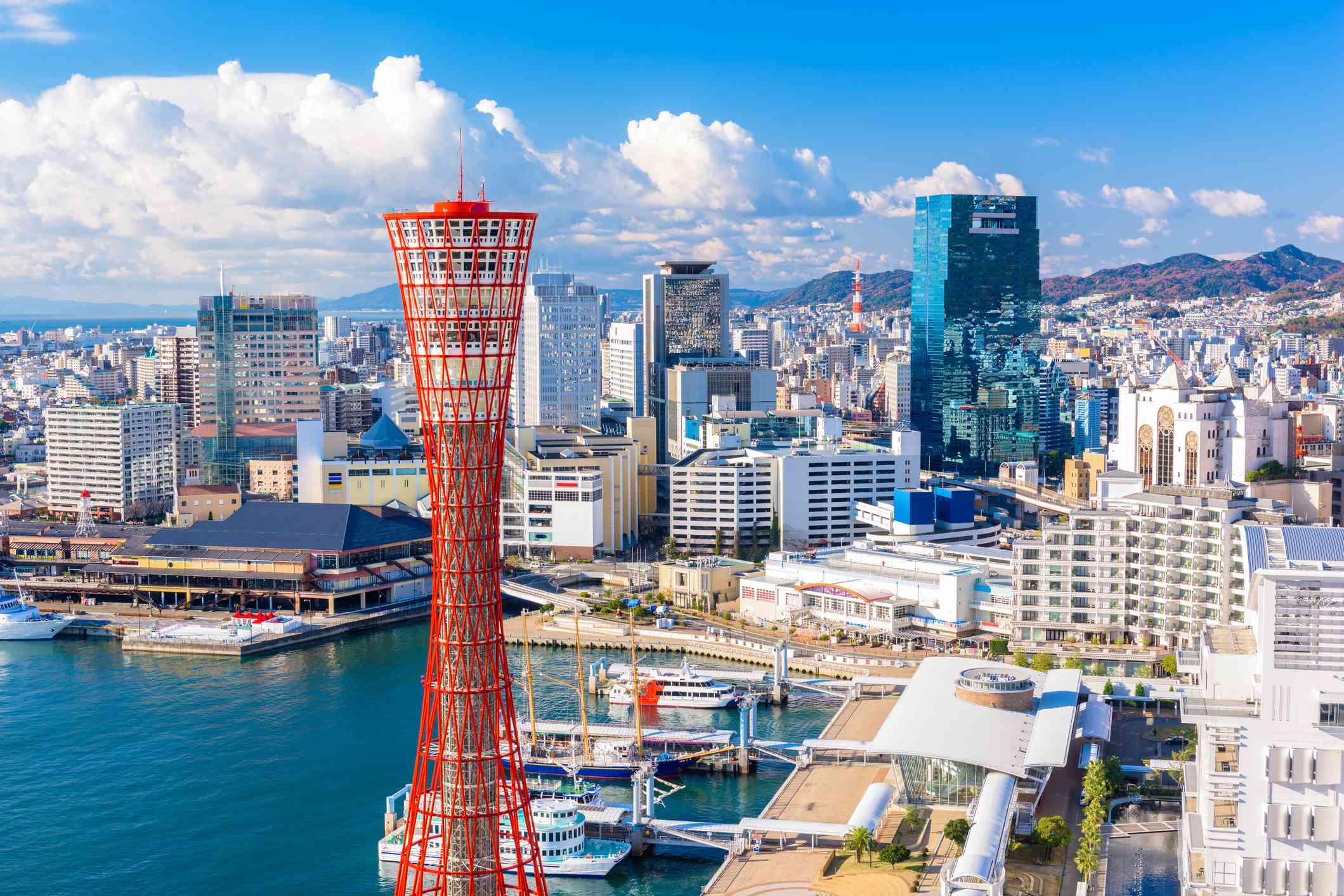 Kobe, Japan skyline at the port.