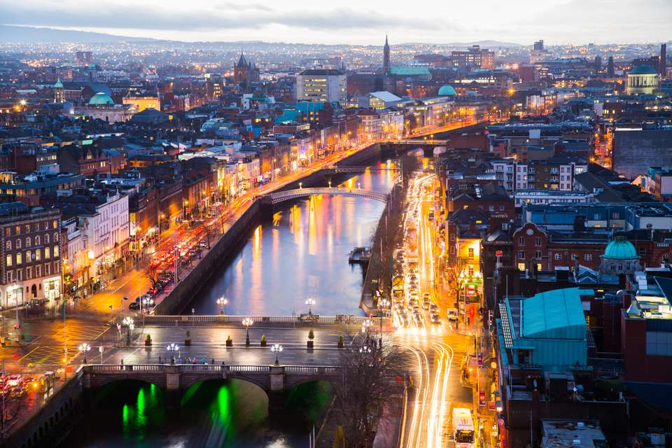 Dublin City at evening over O Connell Bridge