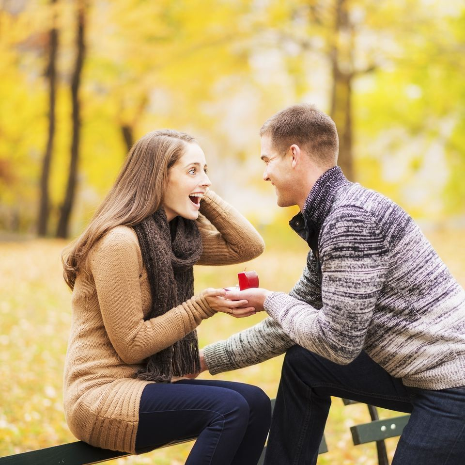 New York City, Young man proposing to young woman in Central Park