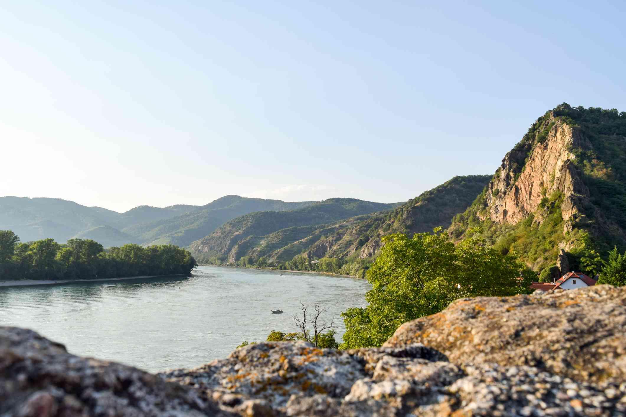The Danube River cutting through Wachau Valley
