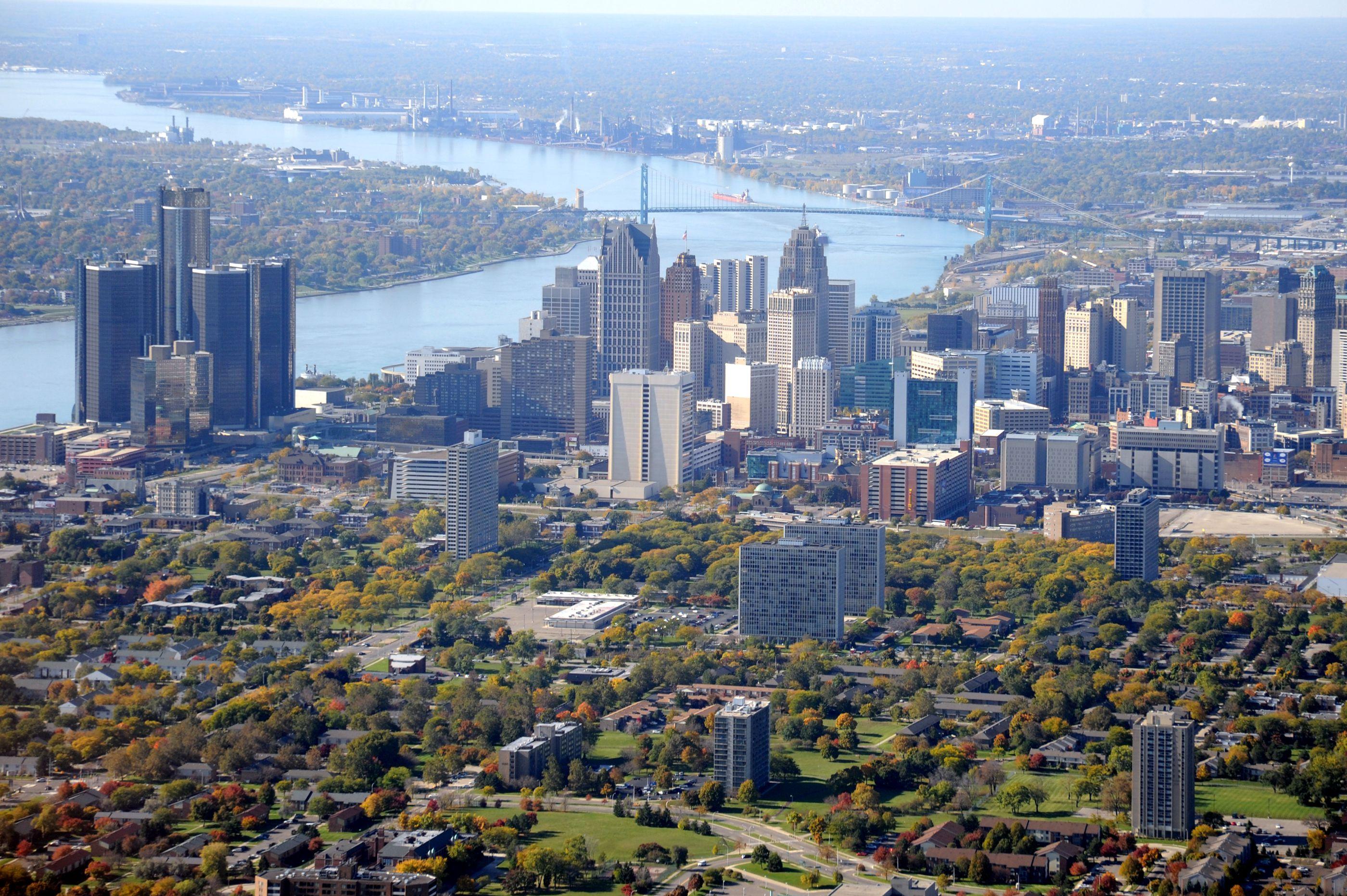 Aerial View of Detroit, Michigan USA