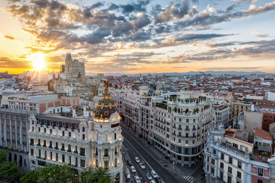 Madrid Cityscape Against Cloudy Sky During Sunset
