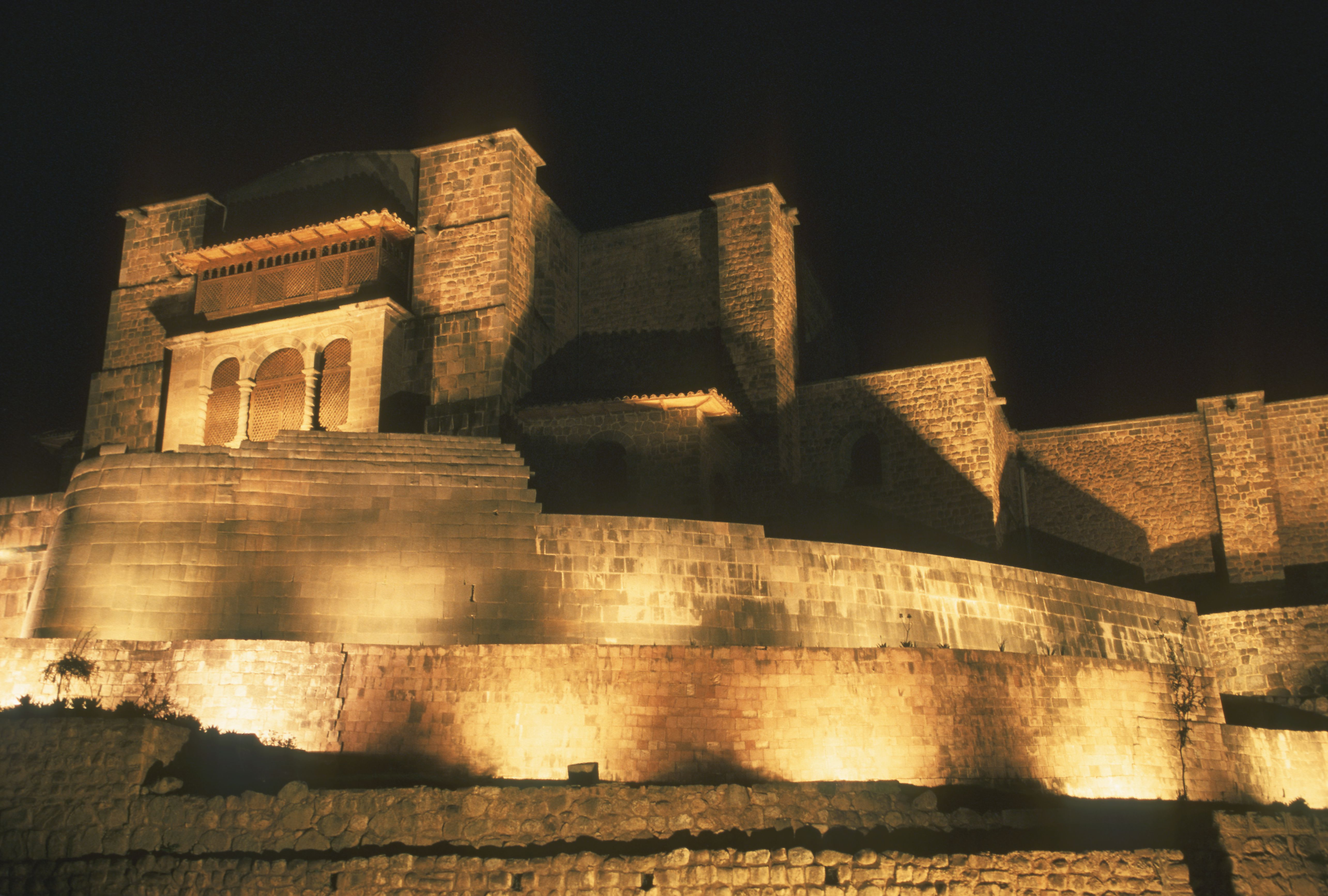 Low angle view of a temple lit up at night, Cuzco, Cusco Region, Peru