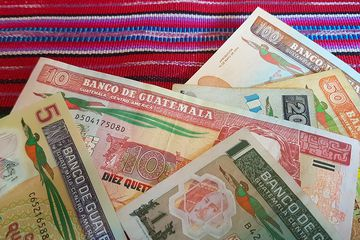 Quetzales notes, the currency of Guatemala.