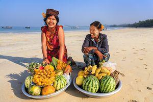 Fruit vendors on Ngapali Beach, Myanmar