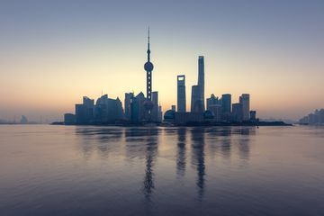Shanghai from the Pu river.