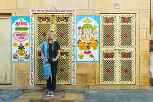 Foreign female tourist in India.