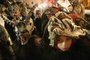 Krampus Creatures Parade In Search Of Bad Children in Neustift im Stubaital, Austria
