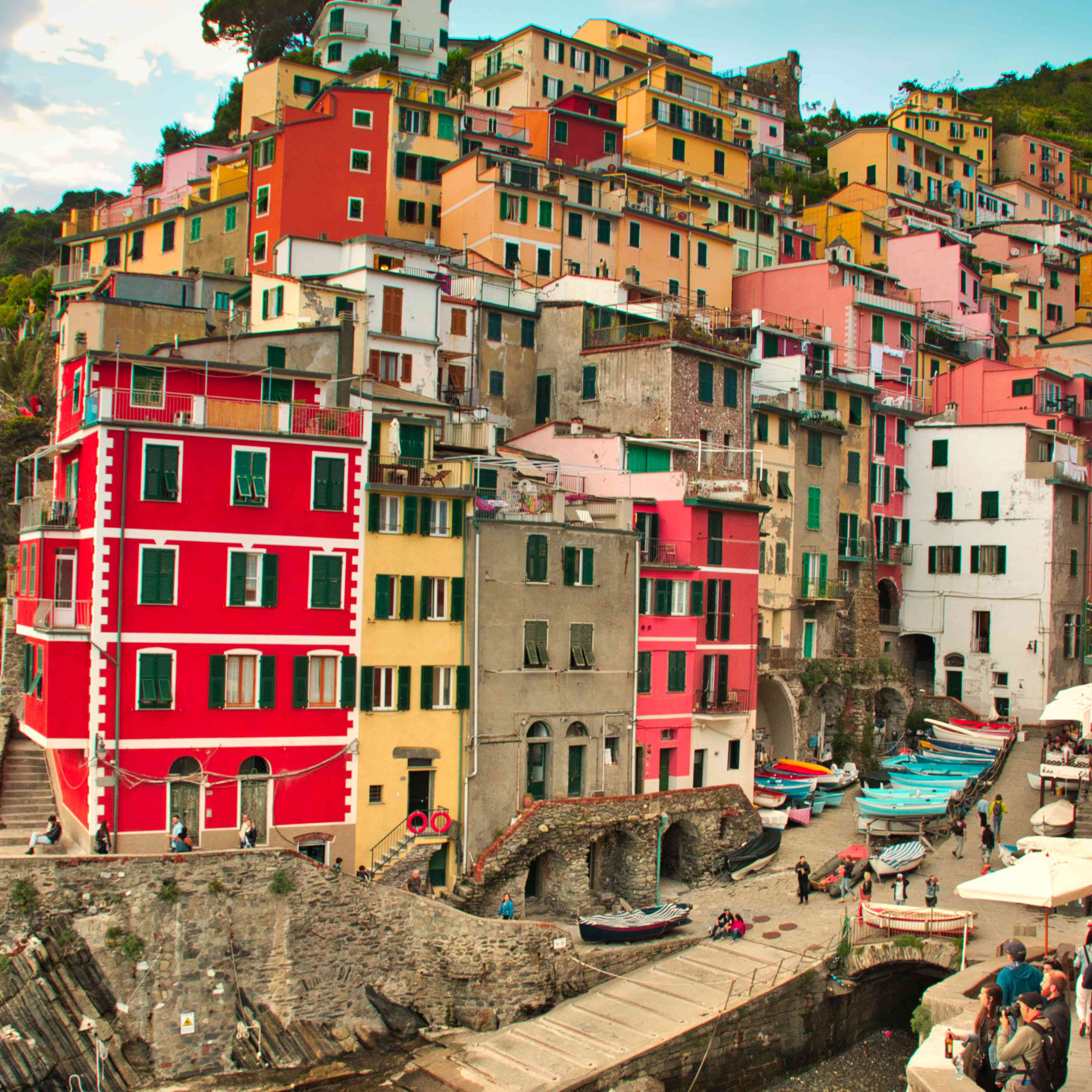 Colorful buildings on the edge by the water in the Gulf of Poets