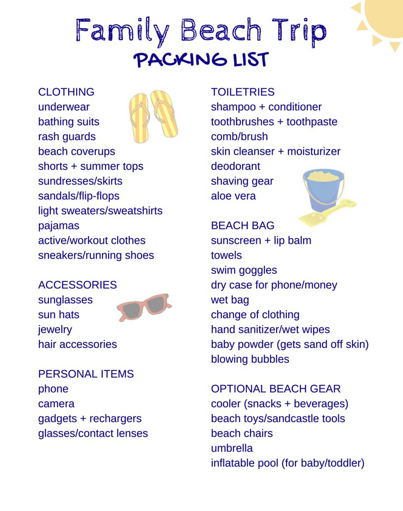 Family Beach Trip Packing List