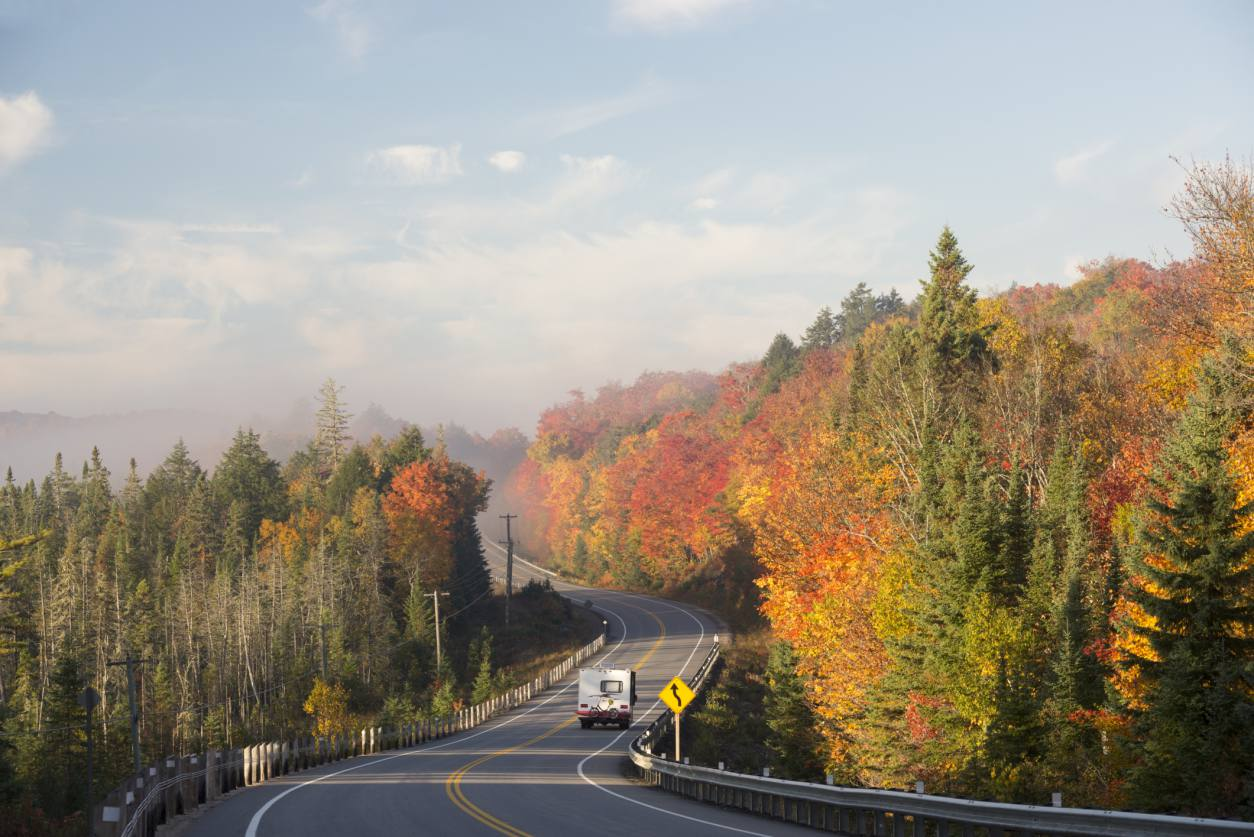 A traveler on Highway 60 through Algonquin Park in the autumn