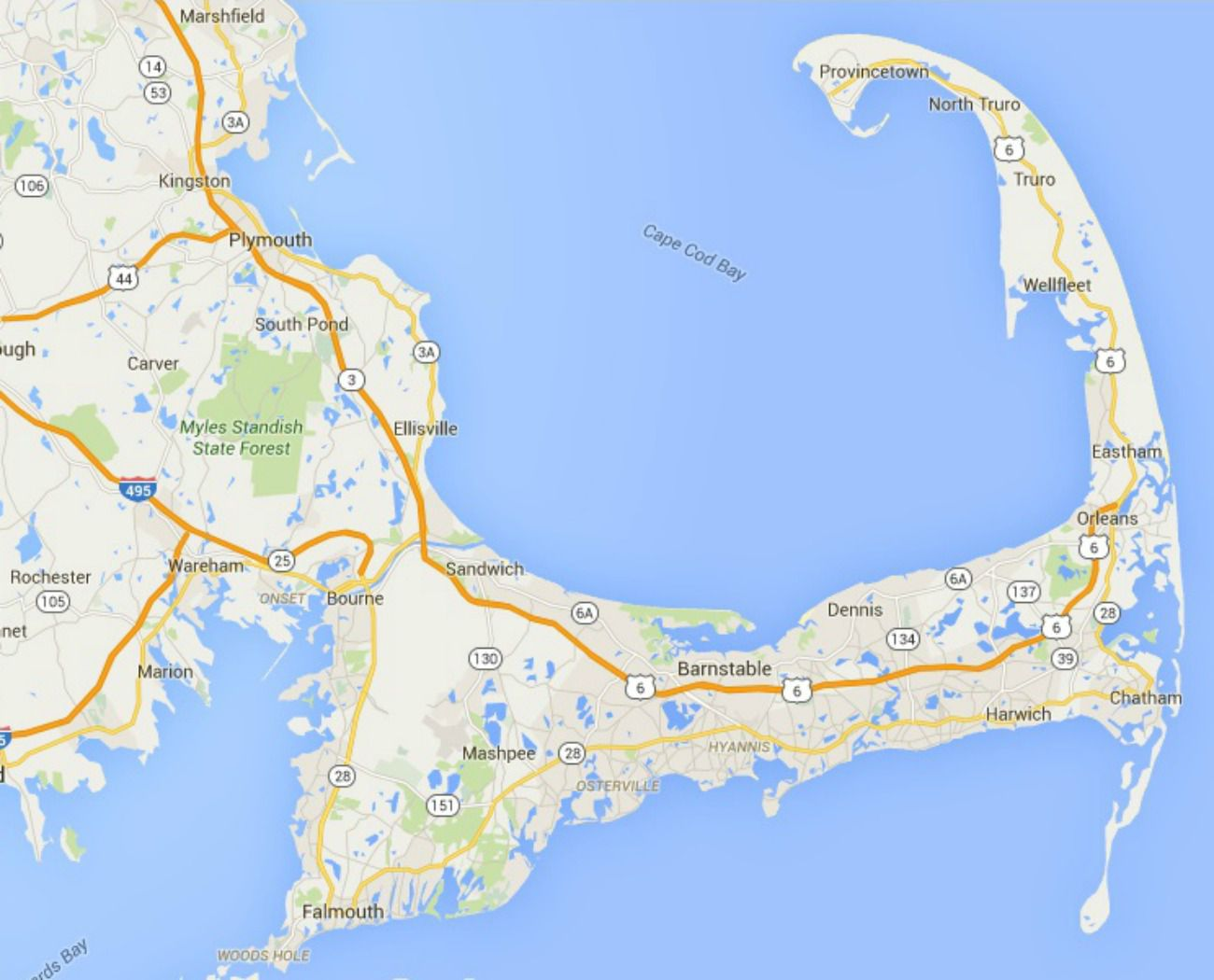 Maps of Cape Cod, Martha's Vineyard, and Nantucket Cape Cod Map on