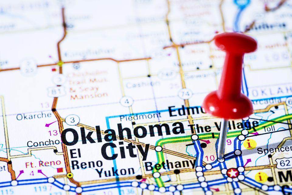 US capital cities on map series: Oklahoma City, Oklahoma- OK