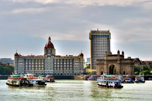 Low Angle View Of Gateway To India Against Sky
