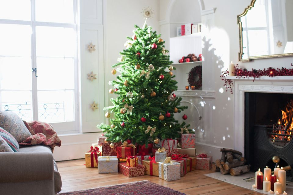 christmas tree with presents in living room