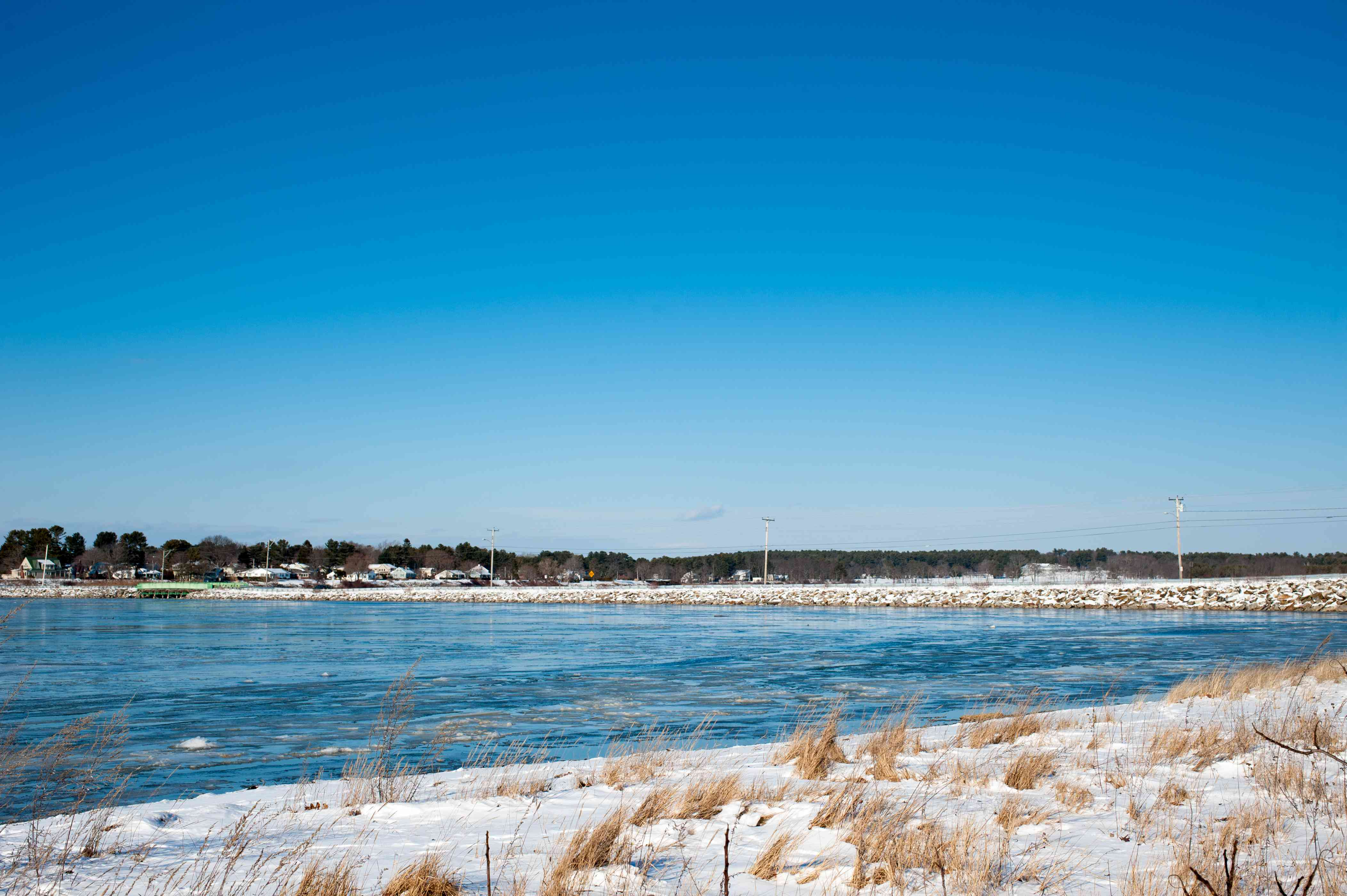 Falmouth, Maine on a sunny winter day from Mackworth Island