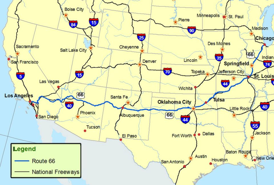 Map Of Texas And Oklahoma With Cities.Maps Of Route 66 Plan Your Road Trip