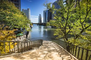 Stairs leading to the Chicago Riverwalk