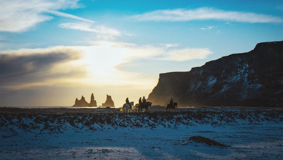 Riding horses in Iceland
