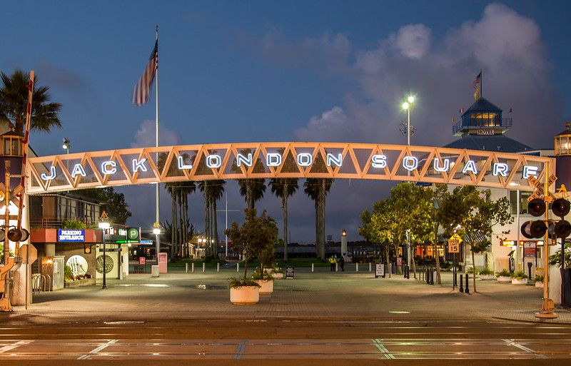 The entrance sign to Jack London Square along the San Francisco Bay, in Oakland, California.