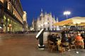 Dining in front of the Duomo at night, Milan