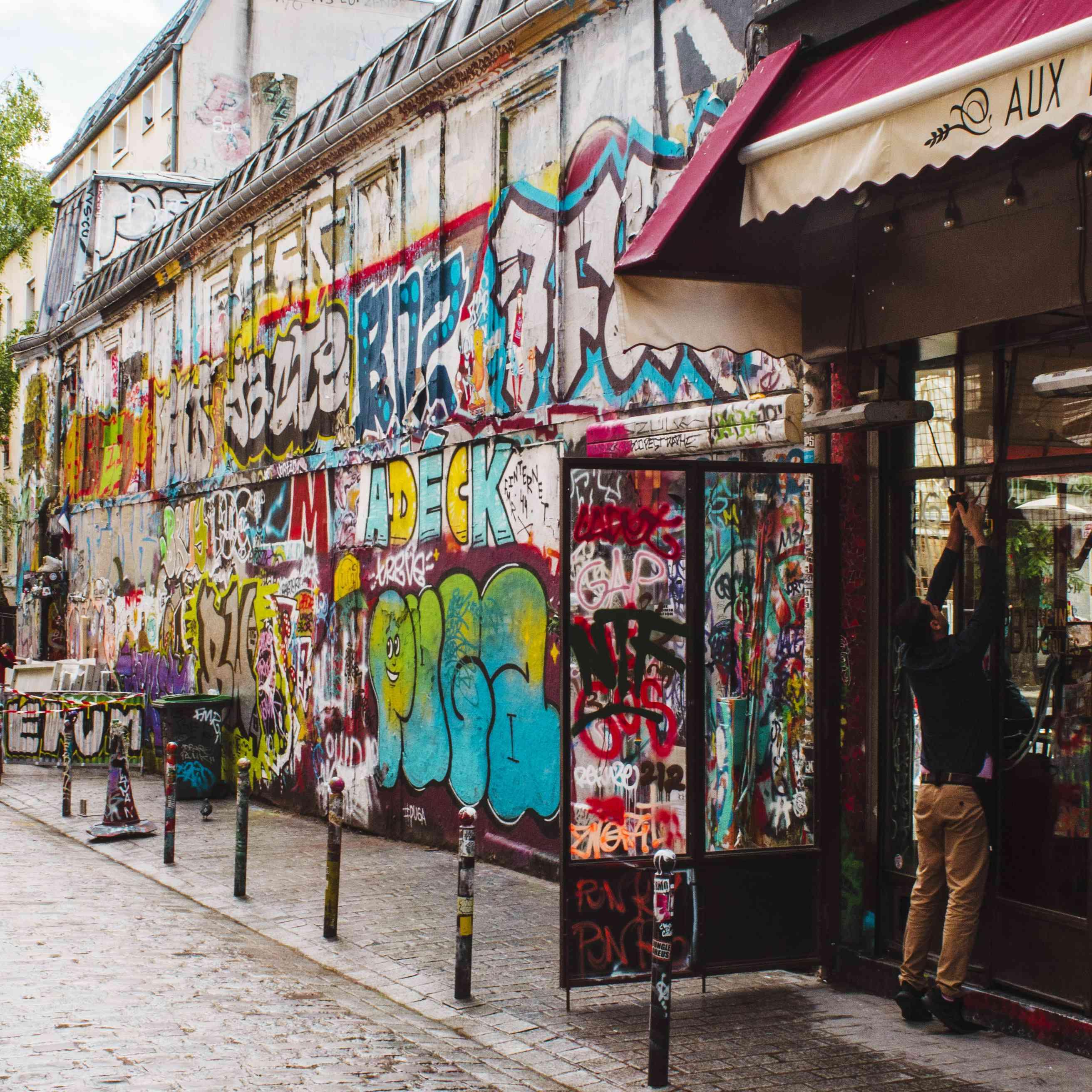 A graffitti street in Belleville
