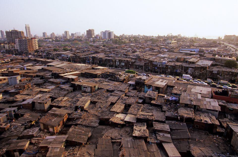 Dharavi slum, aerial view.