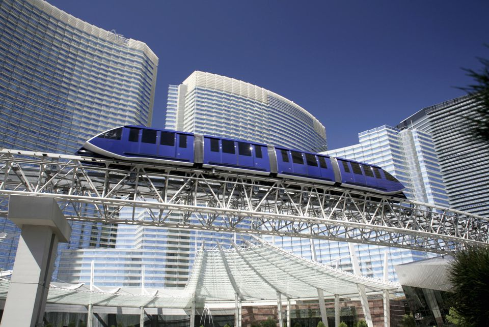 Monorail and CityCenter on Las Vegas Strip