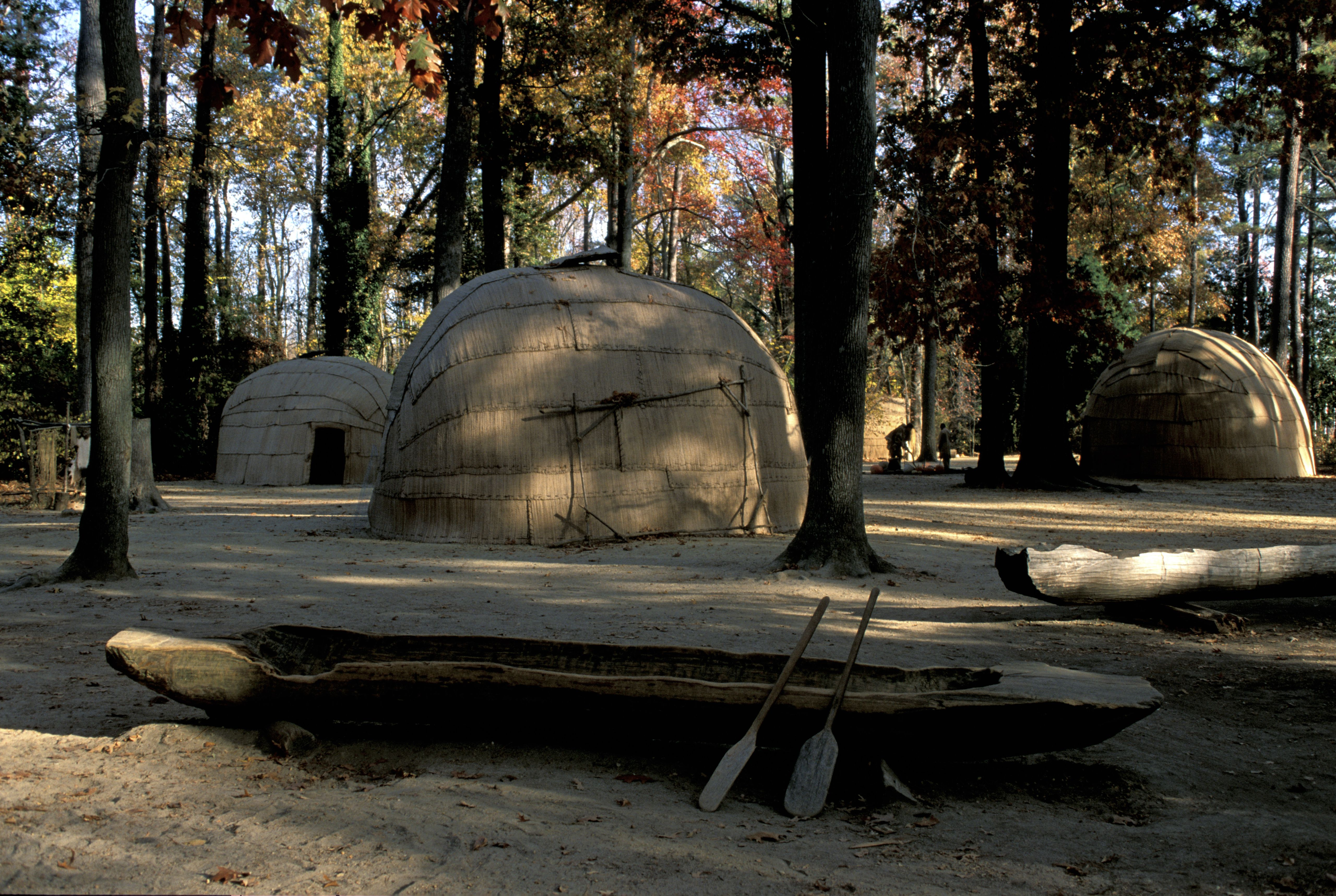powhatan Village and Dugout Canoes