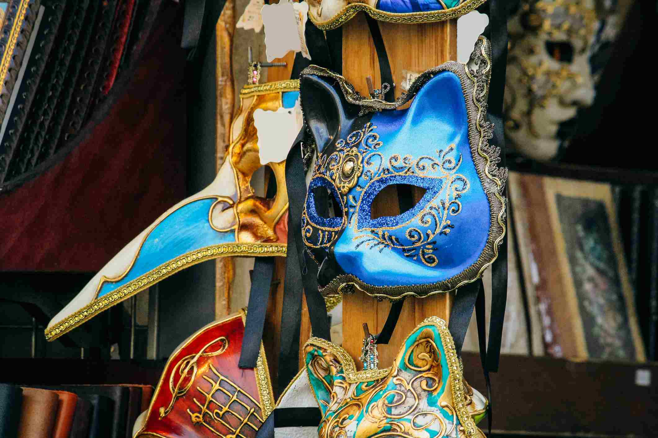 carnival masks for sale, Florence, Tuscany, Italy.