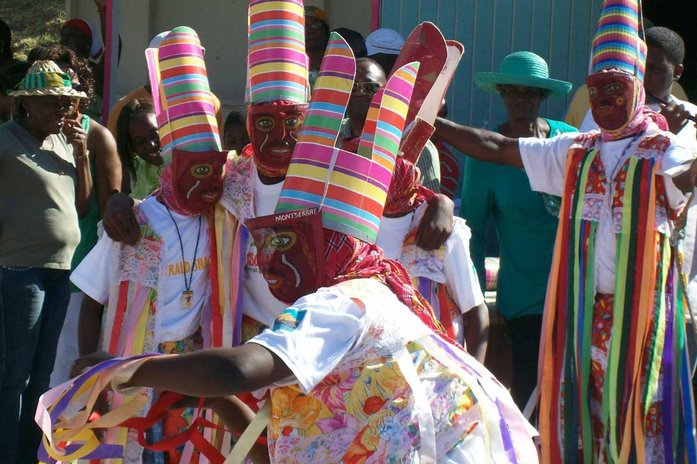 Masquerade dancers performing at the Montserrat St. Patrick's Day parade.