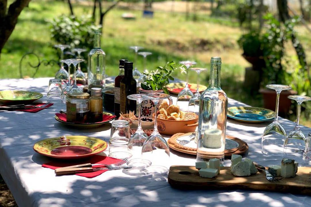 A table set for lunch with KM Zero Tours
