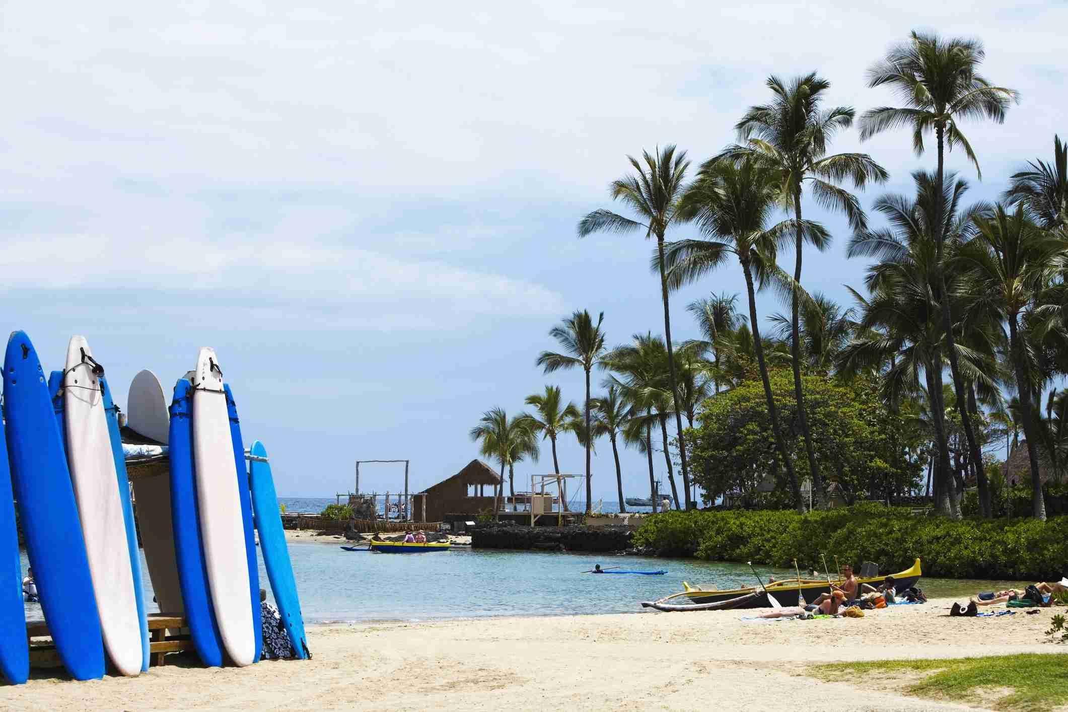 Surfboards on the beach, Kona, Big Island, Hawaii Islands, USA